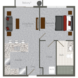 Pearl at the Mix 1 Bedroom Apartment, 576ft²