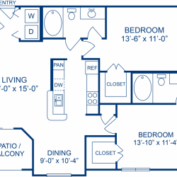 Camden Midtown Apartment 2 bedroom, 1019ft² floorplan