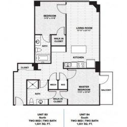 Skyhouse Main Downtown Houston Apartment 2 bedroom, 1031ft² floorplan