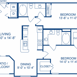 Camden Midtown Apartment 2 bedroom, 1047ft² floorplan