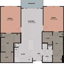 Block 334 Downtown Houston Apartment 2 bedroom, 1069-1093ft² floorplan
