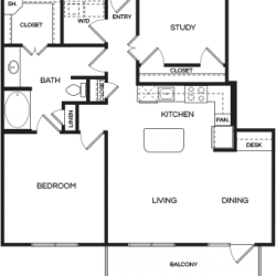 Pear at the Mix 1 bedroom, 1076ft² floorplan
