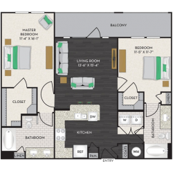 Midtown Houston By Windsor Apartment 2 bedroom, 1088ft² Floorplan