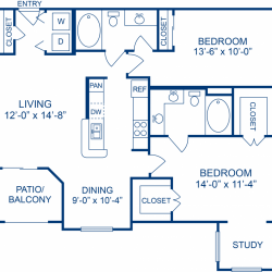 Camden Midtown Apartment 2 bedroom, 1098ft² floorplan