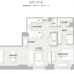 The Star Downtown Houston Apartment 1 bedroom, 1099ft² floorplan