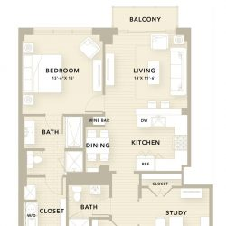 The Star Downtown Houston Apartment 2 bedroom, 1108ft² floorplan