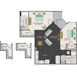 Midtown Houston By Windsor Apartment 2 bedroom, 1113ft² Floorplan