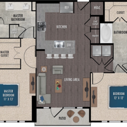 Alexan Downtown Houston Apartment 1 bedroom, 725ft² Floorplan