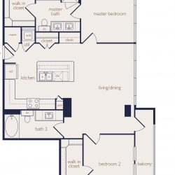Eighteen25 Downtown Houston Apartment 2 bedroom, 1129ft² floorplan
