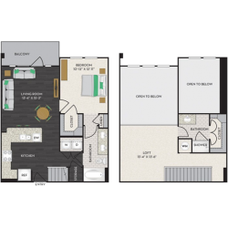 Midtown Houston By Windsor Apartment 1 bedroom, 1136ft² Floorplan