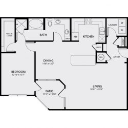 Pearl Midtown Houston Apartment 1 bedroom, 1143ft² floorplan