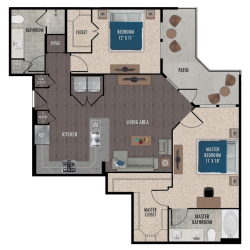 Alexan Downtown Houston Apartment 2 bedroom, 1159ft² Floorplan