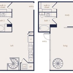Eighteen25 Downtown Houston Apartment 2 bedroom, 1215ft² floorplan