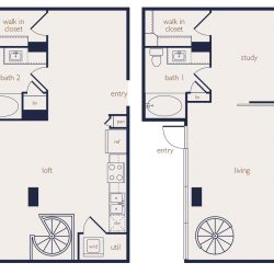 Eighteen25 Downtown Houston Apartment 2 bedroom, 1216ft² floorplan
