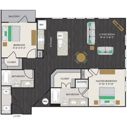 Midtown Houston By Windsor Apartment 2 bedroom, 1223ft² Floorplan
