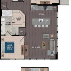 Alexan Downtown Houston Apartment 2 bedroom, 1234ft² Floorplan