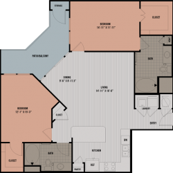 Block 334 Downtown Houston Apartment 2 bedroom, 1235ft² floorplan
