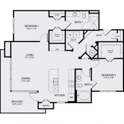 Pearl Midtown Houston Apartment 2 bedroom, 1248ft² floorplan