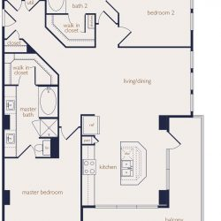 Eighteen25 Downtown Houston Apartment 2 bedroom, 1250ft² floorplan