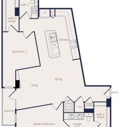 Eighteen25 Downtown Houston Apartment 2 bedroom, 1270ft² floorplan