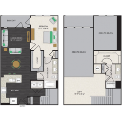 Midtown Houston By Windsor Apartment 1 bedroom, 1293ft² Floorplan