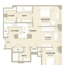 The Star Downtown Houston Apartment 2 bedroom, 1310ft² floorplan