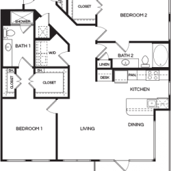 Pear at the Mix 2 bedroom, 1334ft² floorplan
