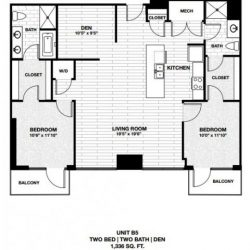 Skyhouse Main Downtown Houston Apartment 2 bedroom, 1336ft² floorplan