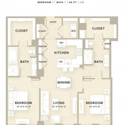 The Star Downtown Houston Apartment 2 bedroom, 1340ft² floorplan