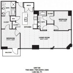 Skyhouse Main Downtown Houston Apartment 2 bedroom, 1364ft² floorplan