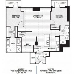 Skyhouse Main Downtown Houston Apartment 2 bedroom, 1371ft² floorplan