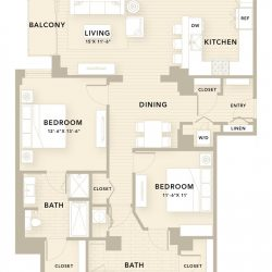 The Star Downtown Houston Apartment 2 bedroom, 1425ft² floorplan