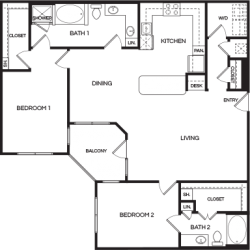 Pear at the Mix 2 bedroom, 1438ft² floorplan