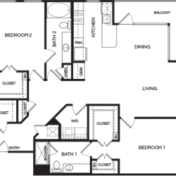 Pear at the Mix 2 bedroom, 1456ft² floorplan