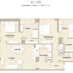 The Star Downtown Houston Apartment 2 bedroom, 1560ft² floorplan