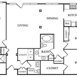 Calais Midtown Houston Apartment 3 bedroom, 1724ft² floorplan