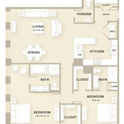 The Star Downtown Houston Apartment 2 bedroom, 1730ft² floorplan