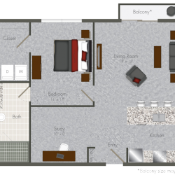 Pearl at the Mix 1 Bedroom Apartment, 768ft²