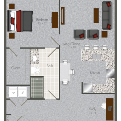 Pearl at the Mix 1 Bedroom Apartment, 868ft²