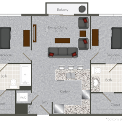 Pearl at the Mix 2 Bedroom Apartment, 878ft²