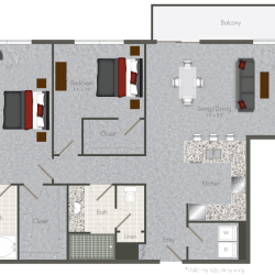 Pearl at the Mix 2 Bedroom Apartment, 1264ft²