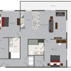 Pearl at the Mix 2 Bedroom Apartment, 1215ft²