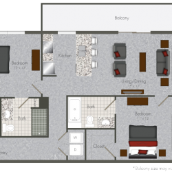 Pearl at the Mix 2 Bedroom Apartment, 900ft²
