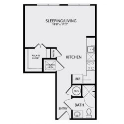 Pearl Midtown Houston Apartment Studio, 499ft² floorplan