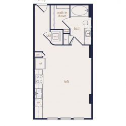 Eighteen25 Downtown Houston Apartment Stuido, 525ft² floorplan
