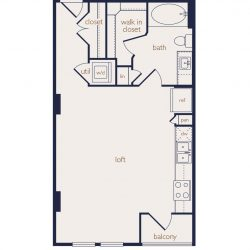 Eighteen25 Downtown Houston Apartment Stuido, 569ft² floorplan