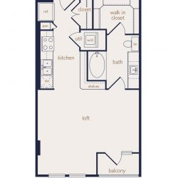 Eighteen25 Downtown Houston Apartment Stuido, 577ft² floorplan