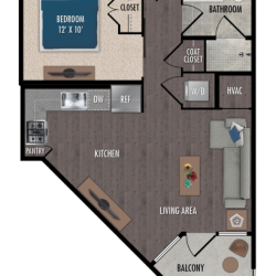 Alexan Downtown Houston Apartment Studio, 591ft² Floorplan