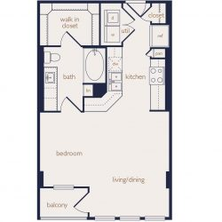 Eighteen25 Downtown Houston Apartment Stuido, 602ft² floorplan