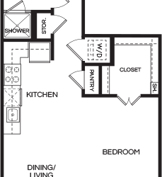 Pearl at the Mix Studio Apartment Floorplan, 612ft²